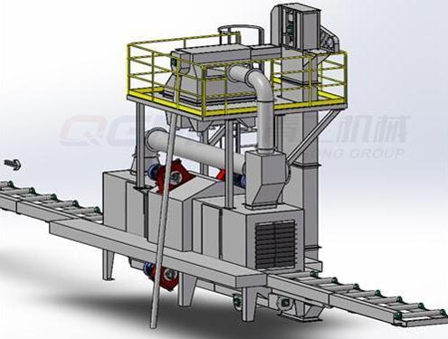 roller conveyor shot blating machine