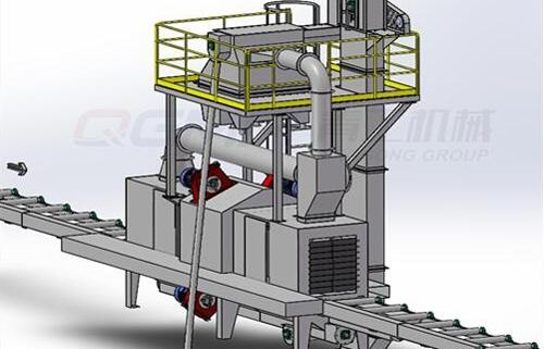 roller conveyor shot blating machine