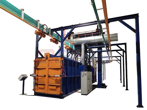Overhead rail shot blasting machine 11