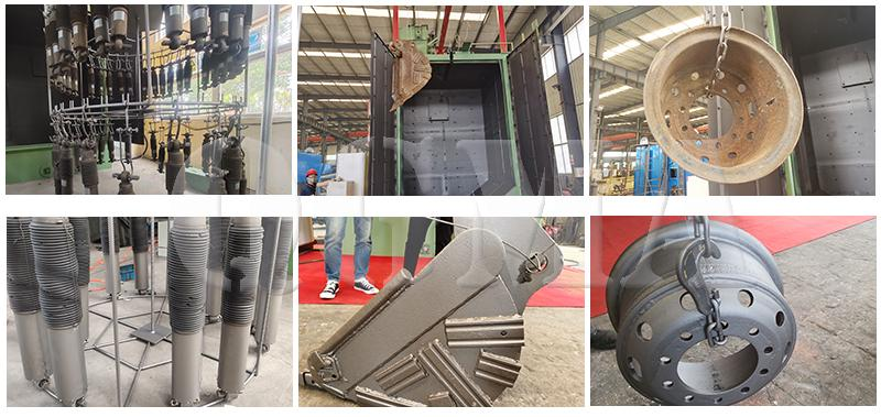 Hanger type shot blasting machine blast effect