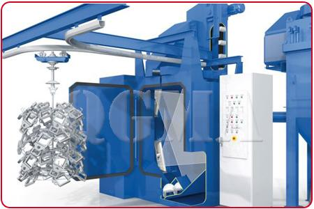 transport system on hanger type shot blasting machine