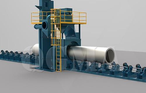Round steel Diabolo roller conveyor shot blasting machine2