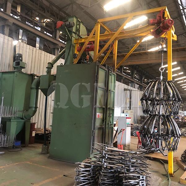 Bicycle parts hanger type shot blasting machine