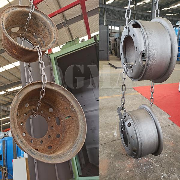 Hook shot blasting machine for cleaning wheels customized for South African customers 2