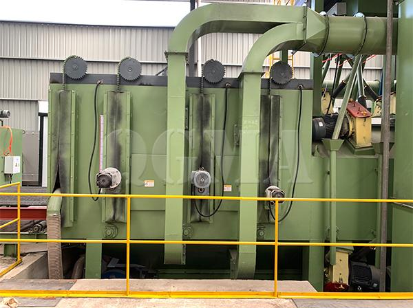 What is the structure of the shot blasting machine 1